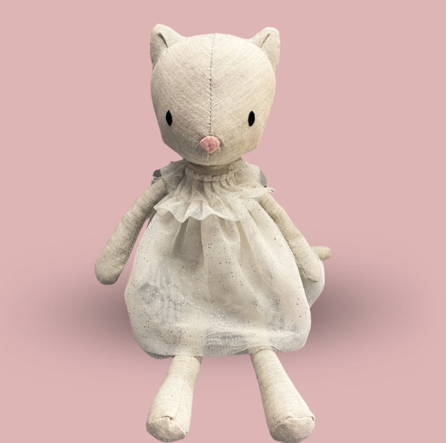Softy toy Grey Cat in the white dress