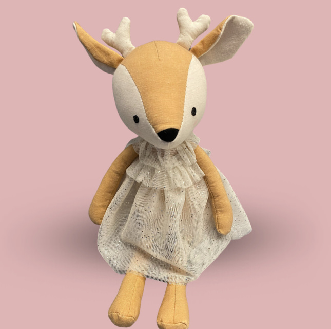 Softy toy Deer in the white dress